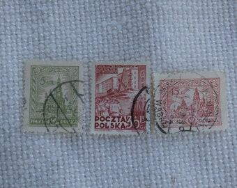 3 Stamps from Poland, 1925 5, 15 Gr, 1951 30 15 GR, All 3 Used