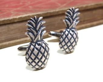 Antiqued Silver Pineapple Cuff Links - Tropical Fruit Beach Wedding Cufflinks Soldered