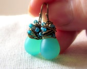 Seafoam Green Glass Earrings, Mint Sea Glass Earrings, Mermaid Earrings, Czech Glass, Confetti, Wire Wrapped, Antiqued Brass, Gifts under 25