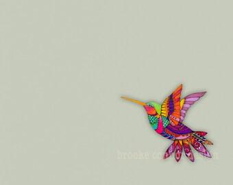 Tiny Hummingbird in Blazing Colors Print of Original Drawing