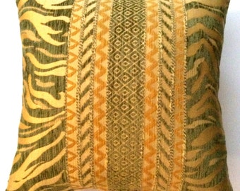 "Decorative gold and green 16"" x 16"" pillow covers - designer upholstery fabric - toss pillows - throw pillows"