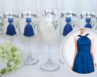 "Personalized Bridesmaid Wine Glasses - ""Hand Painted"" to MATCH Your BRIDAL PARTY - Bridesmaid Gifts - Gift boxing available"