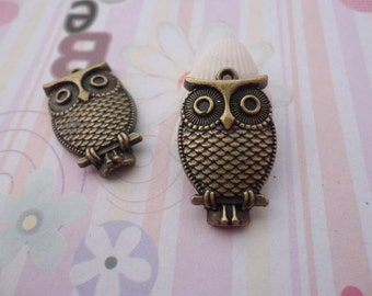 10pcs antique bronze plated owl findings 27x17mm