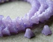 Lilac Flower Czech Glass Beads, Baby Bell Flower Beads, Opal Lilac, 6x5mm (50pcs) NEW