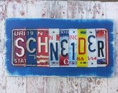 9 letter NAME Personalized Customized License Plate Word Sign Custom States Baby Shower Nursery Wedding 10th Anniversary Metal Art Recycled