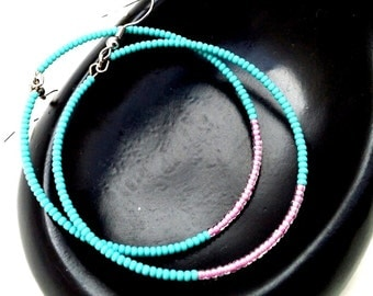Hot Pink and Turquoise Lightweight Earrings, Beaded Hoop Earrings, Perfect Birthday presents for sister girlfriend bestie, Gifts Under 20