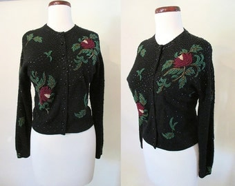 Killer 1950's Black Wool and Angora Beaded and Sequined Sweater with Roses Rockabilly VLV Pinup Sweater Girl Vixen Size-Medium-Large