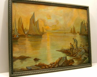 Framed Antique Print, Framed Fisherman Print, Framed Antique Seascape, Framed Sailboats at Sunrise, Bavarian Print, Sailboat Fisherman