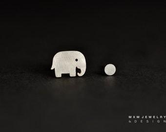 Sterling Silver Elephant & Ball Stud Earrings