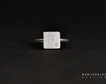 Solid Square Block Ring with 1Letter/Number
