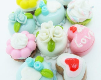 Miniature Polymer Clay Cupcake Supplies for Dollhouse, set of 10 pieces