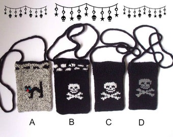 Cell phone cozy.   Goth neck bags.  Hand knitted.  Ready to ship