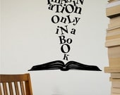 Imagination Only In A Book Wall Decal Removable Book Wall Sticker Lettering Reading Words