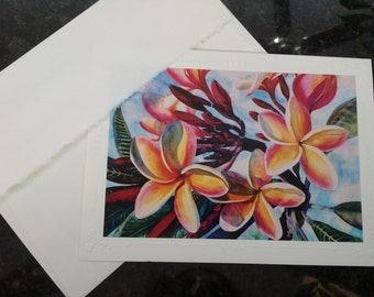 Christie Marie Art- Tropical Plumeria Flowers 5 Embossed blank Art Greeting Cards, Note Card with envelopes Hawaiian watercolor painting p