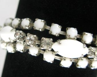 Vintage 1950s La-Rel Milk Glass and Rhinestone Bracelet