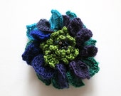 Dark Purple Apple Lime Green Turquoise Blue Eggplant Color Crochet Statement Flower Brooch Hat Hair Shawl Scarf Pin