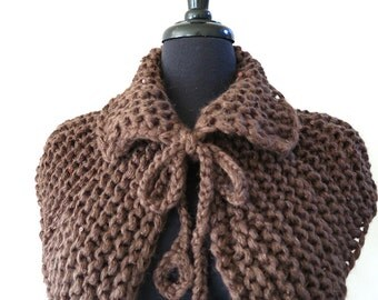 Outlander Inspired Chunky Knitted Brown Color Capelet Cape Collar Cowl Gaiter with Crochet Ring Cord Ties