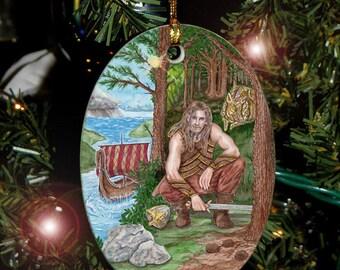 Frey, Norse Viking Yule Ornament