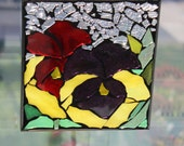 stained glass mosaic, PANSY -  Stained Glass SunCatcher or wall Decoration