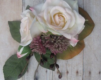Champagne  Roses hair flower -  Cluster hair clip - WEDDINGS -