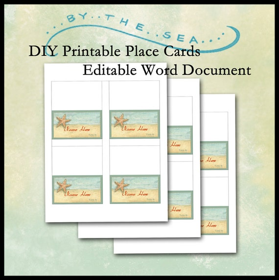 Diy printable place card template by the sea beach starfish for Avery printable place cards