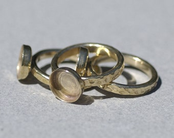 Bronze Bezel Cup Ring Hammered for Resin Gluing or Setting - Size 7