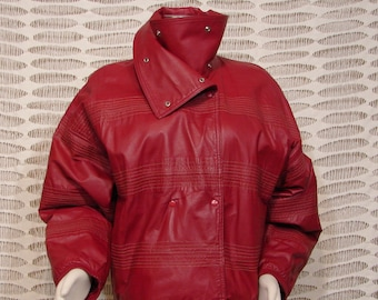 Jacket - Leather - DARK Red - Medium