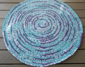 Purple and Turquoise Crocheted Rag Rug, Rag Rug, Crocheted Rug,  Home and Living,  Rag Rug, Floor and Rugs, Area Rug, OOAK,  Handmade Rug