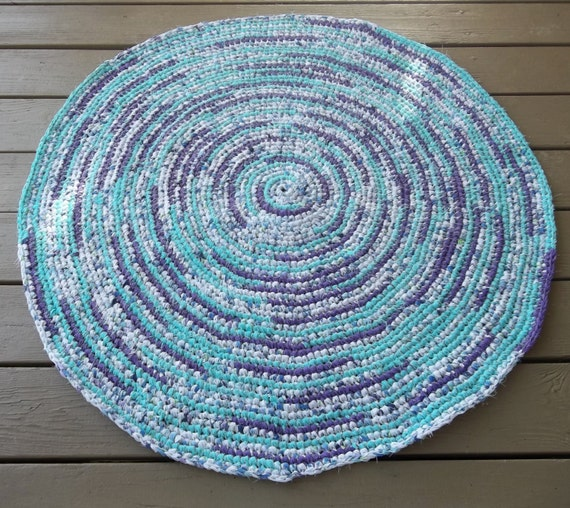 Purple Turquoise Rag Rug: Purple And Turquoise Crocheted Rag Rug Rag Rug Crocheted