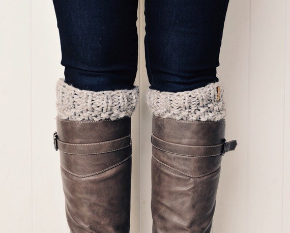 Knit Boot Cuffs Leg Warmers Boot Warmers | The Redlands | Grey Marble