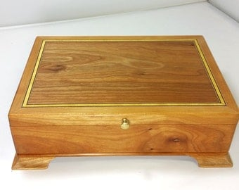 Men's Valet box / Jewelry Box Cherry large stash box Cherry with Satinwood inlay