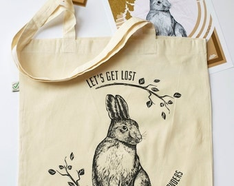 Tote Bag, The Young Hare, Organic Screen Printed Canvas Bag