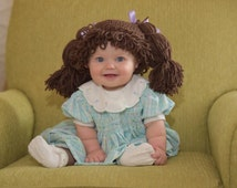 Crocheted Cabbage Patch Kids Inspired Hat / Wig - Available in 7 sizes