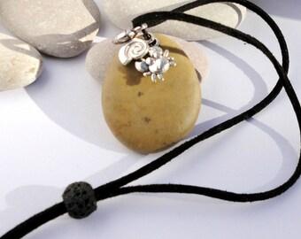 Spanish necklace. Natural stone pendant. Lava bead.  Beach pebble and mini sea creatures.Travelers gift. Adjustable faux Suede . VEGAN