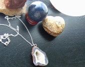 Black Friday/Cyber Monday Druzy Agate Geode Slice Necklace -Gray Agate Chunky Geode Quartz on Sterling Silver
