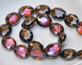 33pcs Oval Crystal Glass Faceted beads 20mm, Sparkly Rose Black - (TS03-8)