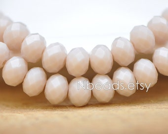 70 beads- Rondelle Crystal Glass Faceted beads 6x8mm, Opaque Beige Grey- (BZ08-113)