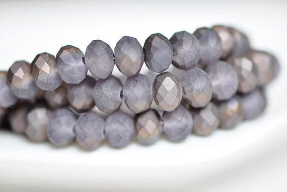 Faceted Frosted Rondelle Crystal Glass Beads Matte  6x8mm -BZ0833/ Full strand