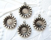 4 - Antiqued silver plated brass beaded edge setting for 7mm round stone - TN117