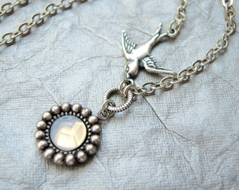 Sweet sparrow necklace with vintage white opal glass stone- SX225