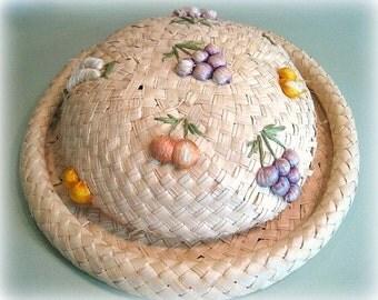 Vintage Straw Hat Decorative Hat Home Decor Wall Hat Wall Decor Hat Wall Hanging Fruit Decoration Woven Hat 3D Fruit Hat Woven Straw Hat