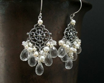 Crystal Quartz Chandelier Earrings Freshwater Pearl Sterling Silver Wire Wrapped Cluster Dangle Special Occasion Wedding Bridal Earrings