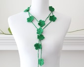 Crochet Necklace Green Lariat, Necklace, Scarf, Scarflette