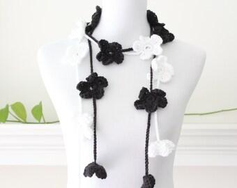 Crochet Black White Lariat, Necklace, Scarf, Scarflette - set of 2