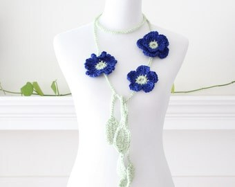 Crocheted Royal Blue and light Green Necklace, scarf, scarflette