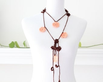 Crochet Brown, Orange Flower Lariat, Necklace, Scarf, Scarflette