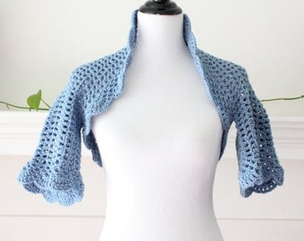 Crocheted Country Blue Shrug