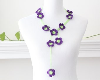 Crocheted Lime Green Purple Flower Lariat, Necklace, Scarf, Scarflette