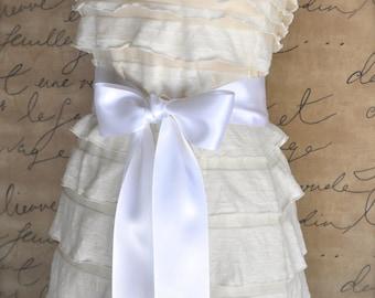 Satin sash in your choice of colors. Bridal belt Bridesmaids sash Flower Girl sash. White shown