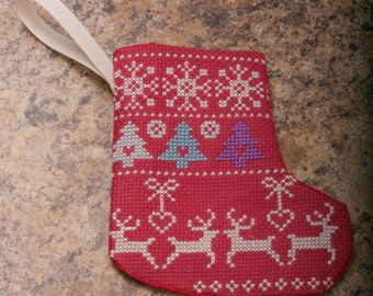 Now on Sale  Cross Stitch Little Stocking With Christmas Design
